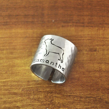 Personalized Hammered French Bulldog Ring, Custom Dog Adjustable Ring, Engraved Hand Stamped Cute Dog Ring Wide Band Ring