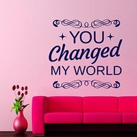 Wall Decals Quote You Changed My World Decal Vinyl Sticker Home Decor Love Bedroom Interior Window Decals Art Murals