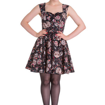 Rockabilly Gothic Calavera Day of the Dead Flower Sugar Skull Black Dress
