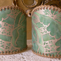 Pair of  Wall Sconce Clip-On Shield Shades Fortuny Fabric Green & Gold Olimpia Pattern Mini Lampshade - Handmade in Italy