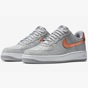 NIKE Women Men Running Sport Casual Shoes Air force low tops contrast color Silver