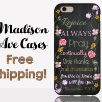 Rejoice Always Pray Continually 1 Thessalonians 5:16-18 Floral Chalkboard Christian Bible Verse Samsung Galaxy S6 S7 iPhone 5 6 Phone Cover