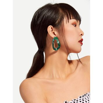 Green Irregular Shaped Design Drop Earrings