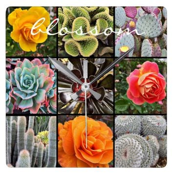 """Blossom"" cacti & roses photo grid wall clock"