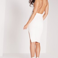 Missguided - Square Neck Snake Embossed Midi Dress White