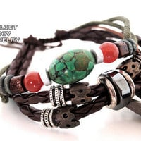 Turquoise bead leather handmade bracelet with beautiful silver bead from Urban Zen Jewelry Boutique
