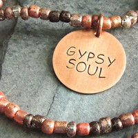 Beaded Choker Necklace, Gypsy Soul Necklace, Peach, Coral, Boho Necklace, Copper Quote Necklace, Hippie, Free Spirit