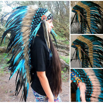 CHRISTMAS SALE Medium Length Native American Headdress, Indian Headdress, Native American Costume clothing, Burning man hat, Edc Outfits