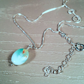 Blue Gemstone Pendant on Chain, Peruvian Blue Opal, Wedding Jewelry, Bridesmaid Gift, Mother's Day Gift, October Birthstone, Bridal Necklace