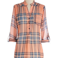 ModCloth Mid-length Long Sleeve Living Room Lodging Top in Sunset Blush