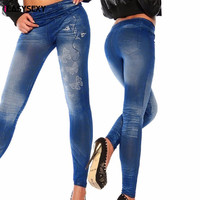 iEASYSEXY 2017 Fashion Tattoo Painting Jeggings Mallas Butterfly Print Fitness leggins Ropa Deportiva Imitation Jeans Leggins