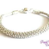 MAGNOLIA Beaded Kumihimo Bracelet, Braided Rope Bracelet with Silver plated Seed Beads - Beige/Silver