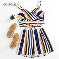 COLROVIE Multi Striped Cross Cami Top With Shorts Clothing Set 2018 New Summer Beach Women Set
