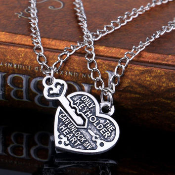 Best Friends Necklaces Key Heart Pendant Chain Necklaces Friendship SM6