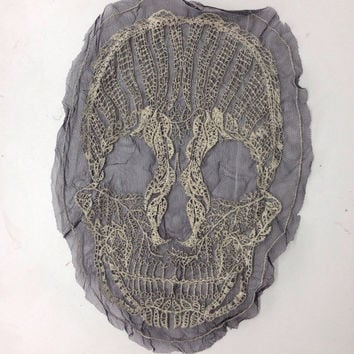 Large Skull Macabre Lace Applique - 13.5inch Back Patch
