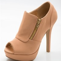 Side Zip Peep Toe Booties - Nude