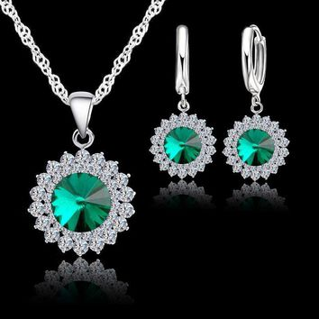 Exquisite 925 Sterling Silver Crystal Necklace And Earrings Set