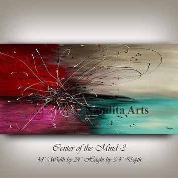 """Abstract Large Wall Art Painting, 48"""" Original Modern art Luxury Style Teal Canvas Art Contemporary Art Home Decor by Nandita Albright"""