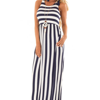 Navy and Ivory Striped Tank Maxi Dress with Side Pockets