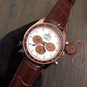 PEAP O007 Omega Seedmaster Chronometer Automatic Mechanical Leather Watchaband Watches Maroon