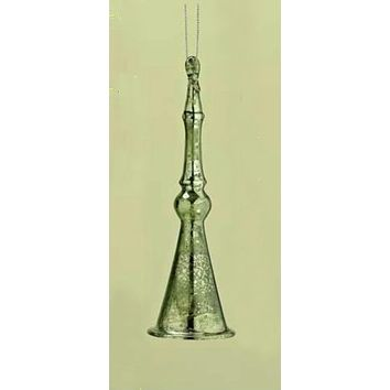 "6"" Distressed Good Tidings Green Icicle Bell Glass Christmas Ornament"