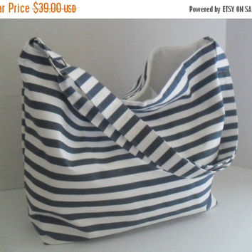 SALE Hobo - Bag Denim and White Stripe Fabric Adjustable Strap - Messenger Bag - Cross Body -  Diaper Bag - Hobo Bag - Handbag - Beach Bag -