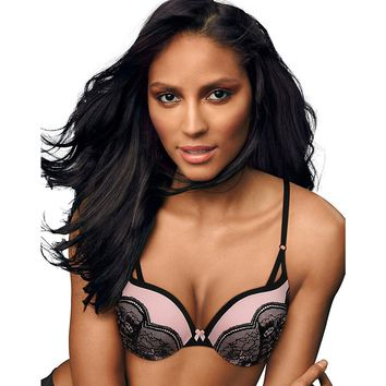 Maidenform Love the Lift  Push Up & In Demi Bra Style: DM9900-Black w/Gentle Peach Lace 34A