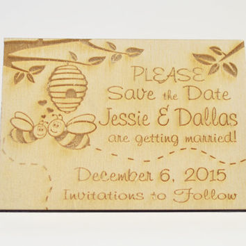 Personalized Rustic Country Wooden Honey Bees & Tree Wedding Save the Date Magnet, Custom Engraved Invitation