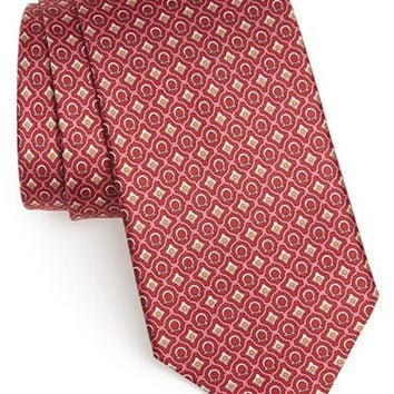 Men's Salvatore Ferragamo Gancini Print Silk Tie, Size Regular - Red