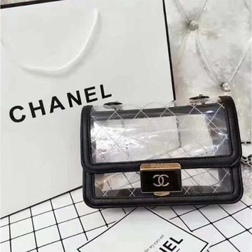 Chanel Trending New Fashion Women Transparent Bag Clear Jelly Beach Bags Small Tote Shoulder Bag Crossbody Bag I