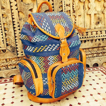 Large Knapsack made with genuine goat leather and hand-woven silk/wool combination