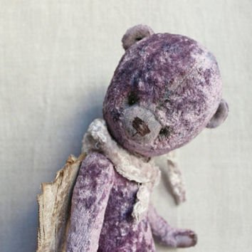 11' Angel teddy bear OOAK artist bear lilac grey vintage plush