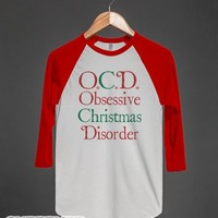 Obsessive Christmas Disorder-Unisex White/Red T-Shirt