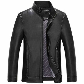 Spring Casual Stand Collar Hombre Loose Men Leather Coats Jackets
