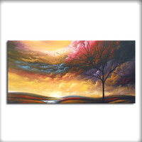 art abstract painting wall decor home decor wall hanging wall art lollipop tree canvas original painting 48 x 24