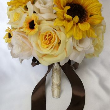 """17 Pieces Package Silk Flower Wedding Decoration Bridal Bouquet Sunflower YELLOW IVORY """"Lily Of Angeles"""""""
