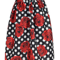 Black Skirt With Red Rose And Polka Dot Print