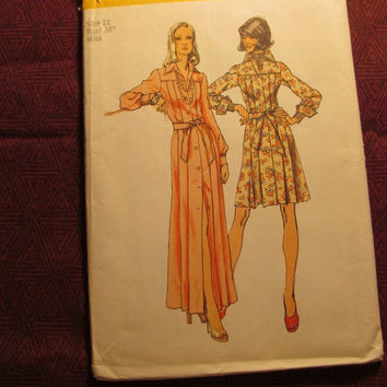 SALE Uncut 1970's Simplicity Sewing Pattern, 5909! Size 12 Sml/Medium/Women's/Misses/Collared Dress/Button Up Front/Button Cuffs/Loose Fitti