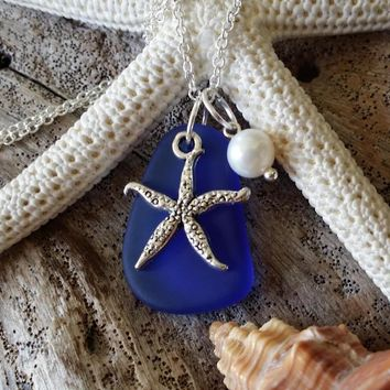Handmade in Hawaii, Cobalt  blue sea glass necklace,Sea star charm , Fresh water  pearl, 925 sterling silver chain, gift box