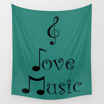 I Love Music - Tribal Teal Wall Tapestry by Moonshine Paradise