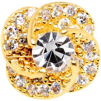 14 Gauge Clear CZ Gem Roses Romance Gold Tone Dermal Anchor Top