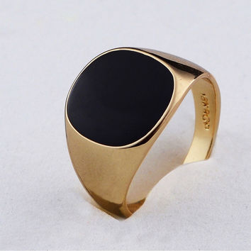 New brand hot selling classic men finger ring gold plated fashion jewelry black ring man