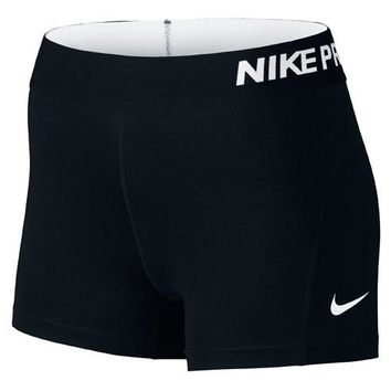 Nike Women's Pro Cool 3-Inch Training Shorts (Black/White/X-Large)