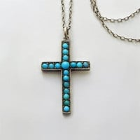 Victorian PERSIAN Turquoise CROSS Pendant Necklace Long Sterling Silver Chain, Womens ANTIQUE Jewelry, Religious Gift for Her