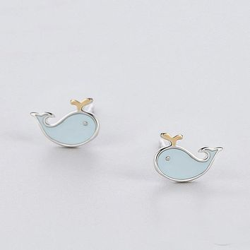 925 Sterling Silver Blue Whale Stud Earrings Fashion For Women Birthday Party Fine Jewelry Accessories Gift