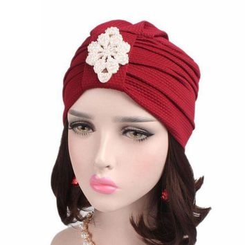 DCCK8JO Women Beanie Hat Cotton Knitted Cancer Chemo Hat Scarf Turban Head winter hats for girls Wrap Cap erkek bere