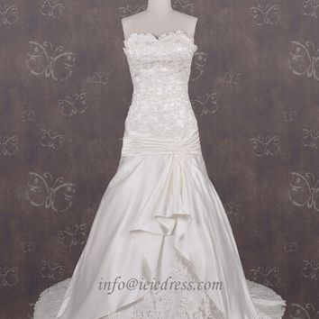 ASM3297 Inspired Strapless Dropped Waist Exquisit Eyelet Lace Applique Wedding Gown with Dropped Waist H2001