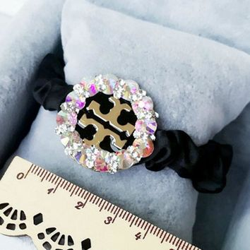 ONETOW Tory Burch luxury diamond disc Hollow Horseshoe buckle stretch hair rope head rope tie Mawei rubber band