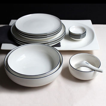 JK Home 1 PcsCeramic Plate Bowl Set Sample Ivory White Steak Plate Dish Top Quality Dinner Plates Rice Bowl Bone Ceramic Gift