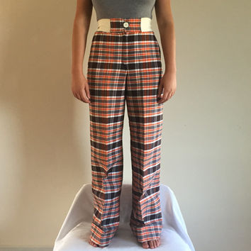 "1970s Plaid Flare Bell Bottoms Elastic Waistband, Brown Orange and White Plaid, Button Front Cuffed bottom, Size 1, 20"" to 27"" waist"